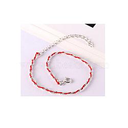 925 bracelets en argent sterling, avec cordon en cuir, rouge, platine(BJEW-AA00086-03P-02)
