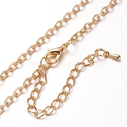 Iron Cable Chain Necklace Making, with Alloy Lobster Claw Clasps and Iron End Chains, Light Gold, 30.3 inches(MAK-J004-11KCG)