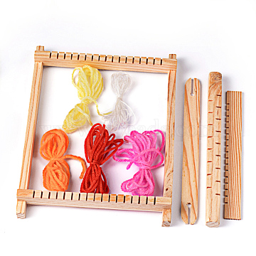 Wood Knitting Looms, with Yarns, Warp Weft Adjusting Rods, Combs and Shuttles, Beige, 230x70x30mm(TOOL-R059-03)