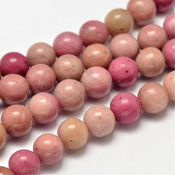 Round Natural Rhodonite Beads Strands, 8mm, Hole: 1mm; about 49pcs/strand, 15.5 inches(G-K092-8mm)