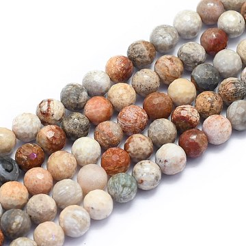 Natural Chrysanthemum Stone Beads Strands, Round, Faceted(128 Facets), 8mm, Hole: 1.2mm; about 49pcs/strand, 15.16 inches(38.5cm)(G-K310-A03-8mm)
