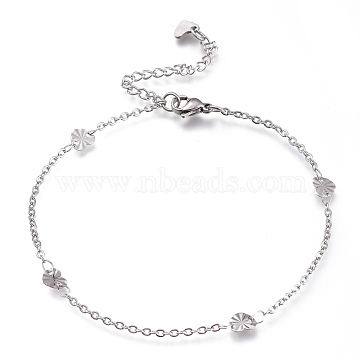 304 Stainless Steel Cable Chain Anklets, with Textured Heart Links and Lobster Claw Clasps, Stainless Steel Color, 8-7/8 inches(22.5cm)(AJEW-M026-14P)