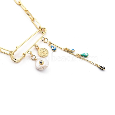 Evil Eye Brass Enamel Pendant Necklaces(NJEW-JN03053-02)-2