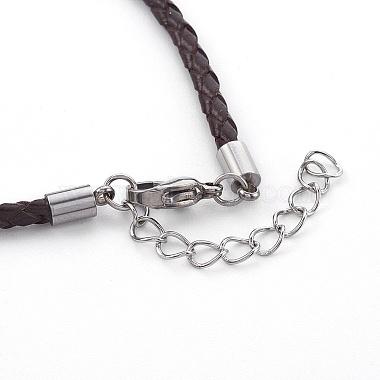 плетеный кожаный шнур браслет изготовление(X-MAK-L018-05E)-3