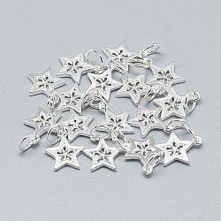 925 breloques en argent sterling, Avec anneau de saut, étoiles, argent, 12x10x1 mm, trou: 4 mm(X-STER-T002-298S)