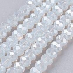 """Chapelets de perles en verre galvanoplastique, plein éclat plaqué, facette, rondelle, AliceBlue, 6x4mm, trou: 1mm; environ 95 pcs/chapelet, 17.7""""(X-GLAA-F001-6x4mm-23L)"""