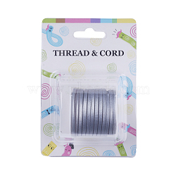 Faux Suede Cord, One Side Covering with Imitation Leather, Silver, 3x1.4mm; about 5m/roll(X-LW-Q014-3mm-1016)