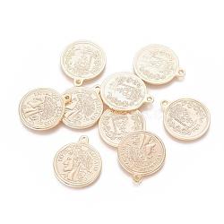 laiton monnaie pendentifs, republique francaise, réel 18 k plaqué or, 21.5x18x1.5 mm, trou: 1.5 mm(KK-L180-081G)