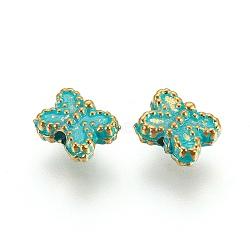 Alloy Beads, Butterfly, Golden & Green Patina, 5.5x7x3mm, Hole: 1.2mm(PALLOY-E523-08GG)