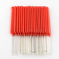 Ton platine poignée en plastique crochet de fer crochets aiguilles, rouge, broches: 0.4mm; 140x12x3.5mm(TOOL-R093-01)