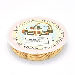 Environmental Copper Jewelry Wire, Long-Lasting Plated, 24 Gauge, 0.5mm, 6.5m/roll(CWIR-P001-01-0.5mm)