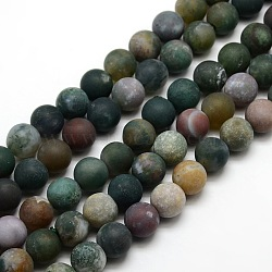 Frosted Natural Indian Agate Round Bead Strands, 14mm, Hole: 1mm; about 25~276pcs/strand, 14.9
