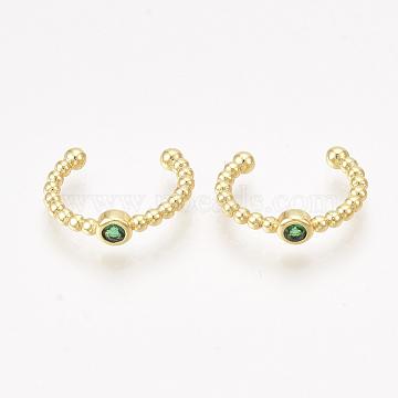 Brass Cubic Zirconia Cuff Earrings, Golden, Green, 12x3.5mm(EJEW-S201-182C)