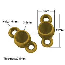 Supports du connecteur de cabochons en alliage, sans plomb, Or antique, 12.5x5x2.5mm, trou: 1.5 mm; apte à 3.5 mm strass(X-PALLOY-A20074-AG-LF)