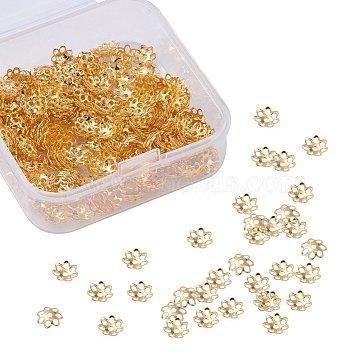 Multi-Petal Iron Bead Caps, Flower, Golden, 6x1mm, Hole: 1mm, 500pcs/box(IFIN-YW0001-12G)