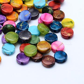 Drawbench Acrylic Beads, Spray Painted, Flat Round, Mixed Color, 9x3.5mm, Hole: 1mm; about 2500pcs/500g(MACR-K331-19)