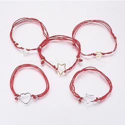 """Bracelets réglables en plusieurs cordes de nylon, avec 304 accessoires en acier inoxydable, formes mixtes, rouge, 5-1/8"""" (13cm) ~ 10-5/8"""" (27cm)(BJEW-F354-27GP-02B)"""