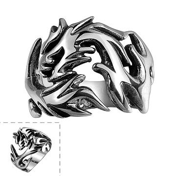 Punk Rock Style 316L Surgical Stainless Steel Hollow Tribal Flame Finger Rings for Men, Antique Silver, Size 8, 18.1mm(RJEW-BB06644-8)