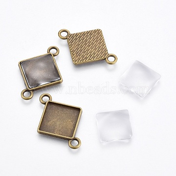 DIY Link Making, with Alloy Cabochon Settings and Transparent Glass Square Cabochons, Rhombus, Antique Bronze, Cabochon Setting: Tray: 20.5mm; 32x23x2mm, Hole: 3mm, 1pc;  Cabochon: 15x5mm, 1pc(DIY-X0292-63B)