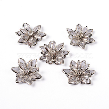 Acrylic Rhinestone Flower Flat Back Cabochons, with Brass Findings, Platinum, Clear, 24x7mm(X-RSB027-06)