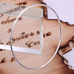 Silver Color Plated Bangle Wholesale Price, Silver Color Plated, 67mm; Inner Diameter: 64mm(BJEW-BB12394)
