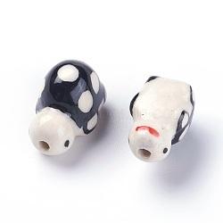 Handmade Printed Porcelain Beads, Tortoise, Black, 11~13x18~20x11~12mm, Hole: 2mm(PORC-E015-08D)