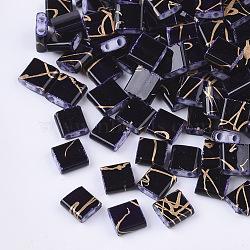 2-Hole Glass Seed Beads, Rectangle, Indigo, 5x4.5~5.5x2~2.5mm, Hole: 0.5~0.8mm(X-SEED-S023-26C-08)