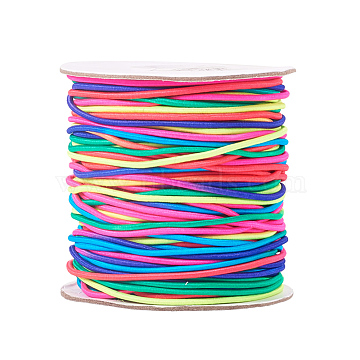 Round Elastic Cord, with Nylon Outside and Rubber Inside, Colorful, 1.5mm, about 49.21 yards(45m)/roll(EC-R001-1.5mm-MA)