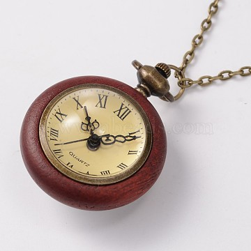 Long Brass Cable Chains Flat Round Rosewood Pocket Quartz Watches Necklaces, with Lobster Claw Clasps, Antique Bronze, 30 inches(NJEW-A289-21E)