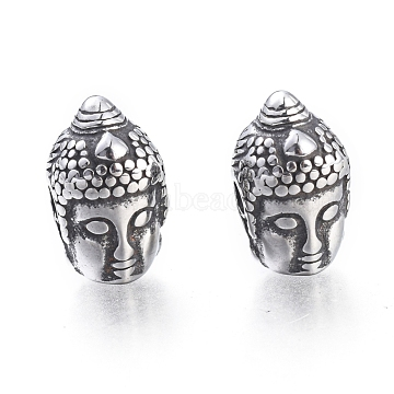 Buddhist 304 Stainless Steel Beads, Buddha Head, Antique Silver, 14x8.5x9mm, Hole: 2mm(X-STAS-F243-33AS)
