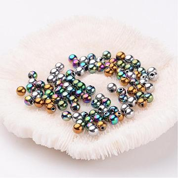 Non-Magnetic Synthetic Hematite Beads, Color Plated, Grade A, Round, Mixed Color, 4mm, Hole: 1mm(X-G-S096-4mm-M)