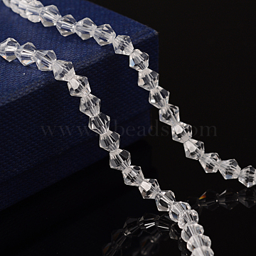 4mm Clear Bicone Glass Beads