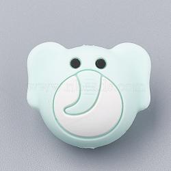 Billes de silicone environnementalistes de qualité alimentaire, perles à mâcher pour les jouets de dentition, Diy soins infirmiers colliers faisant, éléphant, paleturquoise, 20x24x15.5mm, Trou: 2mm(X-SIL-N001-05C)