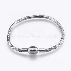 """304 chaîne de serpent rond en acier inoxydable de style européen, avec des agrafes, couleur inoxydable, 7-1/8"""" (18cm); 3mm(STAS-I097-005C-P)"""
