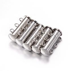Fermoirs magnétiques de 3-chapelets en laiton, 6 trous, platine, 20x10mm, Trou: 2mm(X-E214)