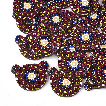 Printed Basswood Cabochons, Bear, Colorful, 27.5x34.5x3mm(X-WOOD-S045-089)
