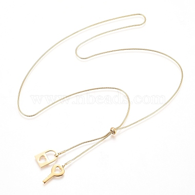 Adjustable 304 Stainless Steel Lariat Necklaces(X-NJEW-Z005-10G)-2