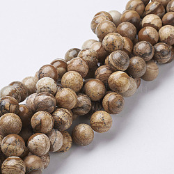 """Chapelets de perles en pierre gemme naturelle, jaspe, rond, 12mm, trou: 1mm; environ 28 pcs/chapelet, 15.5""""(X-GSR12mmC016)"""