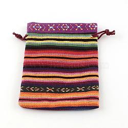 Pochettes d'emballage en tissu de style ethnique, rectangle, orange, 14x10 cm(X-ABAG-R006-10x14-01E)