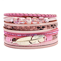 PU Leather Multi-strand Bracelets, with Wax Polyester Cords, Alloy Magnetic Clasp and Rhinestone, Feather, Golden, Pink, 7-1/2inches(19cm), 40mm(BJEW-F352-02G-01)