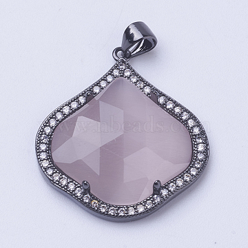 Brass Cat Eye Pendant, with Micro Pave Cubic Zirconia, Faceted, Long-Lasting Plated, Petal, Thistle, Gunmetal, 28x25x5mm, Hole: 3.5x4mm(ZIRC-G112-O03-B)