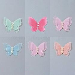 bijouterie organza fascinateurs, pour la décoration des enfants, avec des perles acryliques, papillon, couleur mélangée, 33~35x42~47x3 mm(AJEW-WH0079-F-M)