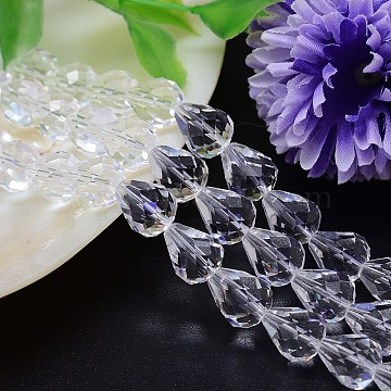Faceted Teardrop Imitation Austrian Crystal Bead Strands, Grade AAA, Clear, 12x10mm, Hole: 0.9~1mm; about 33pcs/strand, 15.7 inches(G-M185-12x10mm-01A)