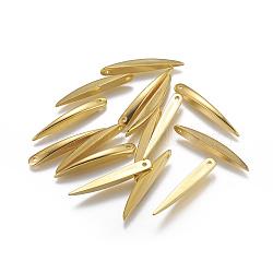 Пластмассовые подвески ccb, острый выступ, золотые, 34x5x4.5 мм, отверстие : 2 мм(CCB-K004-03G)