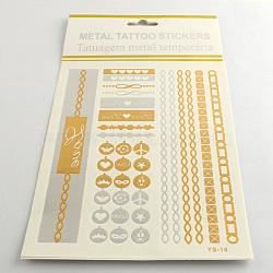 Autocollants en papier métallique de tatouages temporairese amovible d'art corporel cool en forme mixte, couleur mixte, 14~175x5~26 mm; 12 pcs / sac(AJEW-Q081-49)