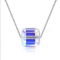 Trendy 925 Sterling Silver Pendant Necklace, with Austrian Crystal, Square, Platinum, 229_Blue Zircon, 16.53 inches(42cm)(NJEW-BB30717)