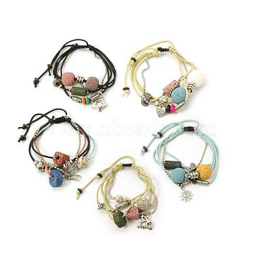 Lava Rock Beads Bracelets, Waxed Cotton Cord with Alloy Findings, Wood Beads and CCB Plastic, Mixed Color, 42~48mm(BJEW-D262-M)
