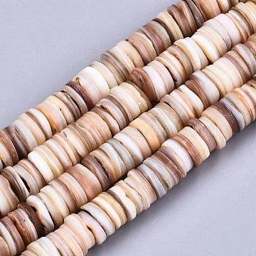 Natural Freshwater Shell Beads Strands, Heishi Beads, Flat Round/Disc, BurlyWood, 8~9x1~3mm, Hole: 1mm; about 178~182pcs/strand, 14.96 inches(38cm)(X-SHEL-N026-94B-01)