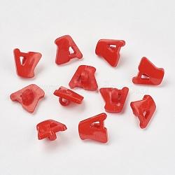 Boutons en acrylique, 1-trou, teint, lettre a, DarkRed, 14x13x2mm, Trou: 3mm(X-BUTT-E028-02)
