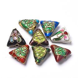 perles en cloisonné main, triangle, couleur mélangée, 13x13x6 mm, trou: 1.5 mm(CLB-S006-10)